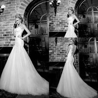 Free Shipping Elegant Open Back Lace Galia Lahav Wedding Dresses Mermaid vestido de noiva 2014 Spaghetti Straps Bridal Gowns