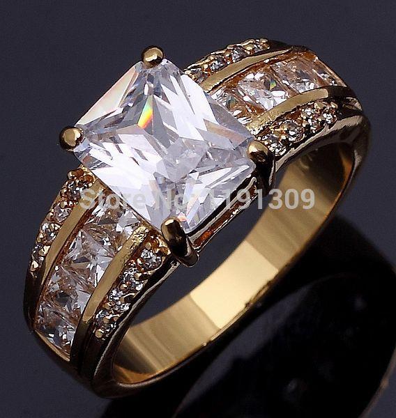 Taille 8 ou 10 bijoux unisexe neuf livraison gratuite aaa. saphir blanc mode'estampille 10kt jaune, or, mariage, bagues, blyr004yws