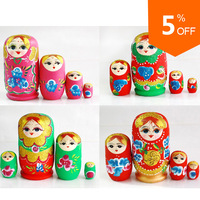 2014 New Child Toy Russian Nesting Dolls Wooden Matryoshka Xmas Gift Random 4pcs/Set Free Shipping  DR02