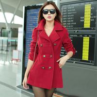 Dropshipping!2014 Autumn Women's Wollen coat slim Outcoat outerwear design long overcoat