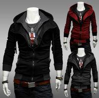 Size M-XXL Fashion Hot Sale Men's Zipper False two piece Patchwork Hooded Coat Jackets Free Shipping LJM024