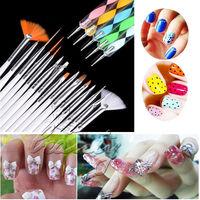20x Nail Art Tips Design DIY Dotting Painting Drawing Polish Brush Pen Tool Set