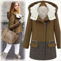 New 2014 Winter Fashion Women's Thickening Cotton-padded Wool Coat, Hooded Cotton + Fleece Warm Woolen Jacket Outerwear Overcoat