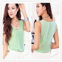 Free shipping Women's Shirts In 2014 New Fashion Women Girt Casual Chiffon Vest Top Tank Sleeveless Shirt Blouse blusas