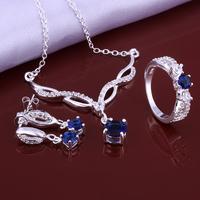 Wholsale new FASHION jewelry  925 Sterling Silver necklace ring earrings set Penoyjewelry LKNSPCS639