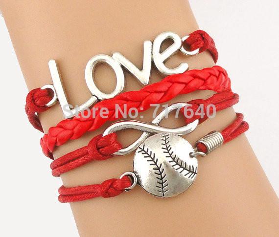 Love Infinity New Arrival Fashion Baseball Softball Charm Bracelet, 22 colors are Available,6pcs/lot! Free Shipping! D0273(China (Mainland))