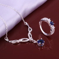 Wholsale new FASHION jewelry  925 Sterling Silver ring necklace set Penoyjewelry LKNSPCS641