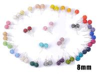 High Quality 8mm Shamballa Beads Earrings,925 Silver Logo Disco Crystal Ball Stud Earrings,20pcs=10pairs Per Lot,Mix Colors