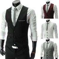 New Men's Korean Style Three Buckle All Match Knitted Slim V-Neck Fashion Chains Handsome Blazer Vest Free Shipping LJM028