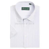 Fashion blue Striped Men's brand shirt Mens Short sleeve dress shirt men Classic easy care business Formal shirts Best Gift