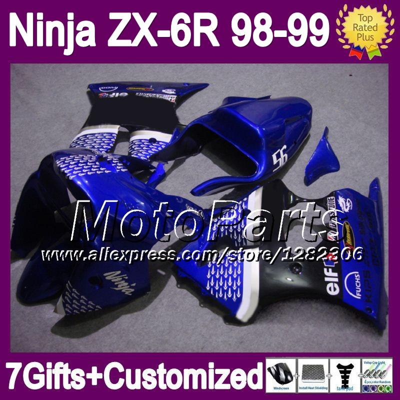 7gifts For gloss blue blk KAWASAKI NINJA ZX6R 1998 1999 98-99 *6195 ZX-6R ZX636 ZX-636 ZX 6R blue black 636 98 99 Fairing(China (Mainland))
