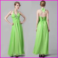GUOISYA Newest Design Backless Sexy Celebrity Dress Light Green V Neck Top Line Chiffon Long Night Evening Dress 2014