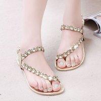 Summer rhinestone fashion sandals flat heel women casual sandals flat casual female shoes