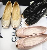 Tsh women's shoes flat metal square toe shoes plaid rivet flat heel single shoes female fashion plus size women's shoes