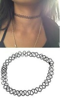 Hot Single one layer Tattoo Choker Stretch Necklace New Black Retro Henna Vintage Elastic Boho 90s
