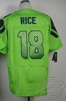 Hot #18 Sidney Rice Jerseys Green Elite throwback football jerseys jersey american football men