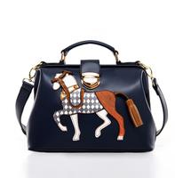 2014 summer new women lether desigual handbag shoulder bag print horse bag pochette shell pack message bags sacoche 5
