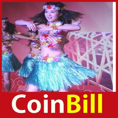 Novo Design coinbill Hot Hawaiian grama Luau Saia Flores Luau Casamentos Beach Party Costume 24 horas despachar nova marca(China (Mainland))
