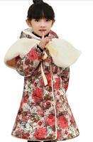 Retail 2014  Cotton Long Sleeve Flora Children's Outerwear Fashion Brand Girls Rabbit Fur Collar Printing Coats For Children