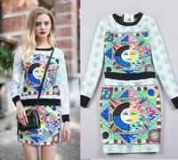 New 2014 spring and winter clothing set fashion women's print o-neck sweatshirt short skirt crop top and skirt set C69