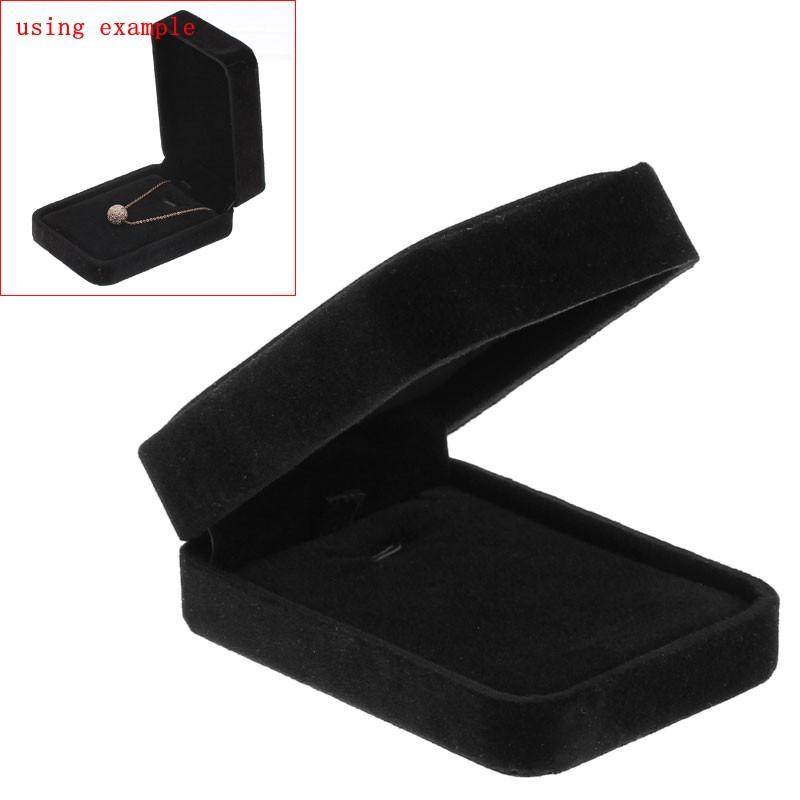 1PC Velvet Jewellery Gift Box Necklace Display Rectangle Black(China (Mainland))