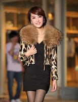 Free shipping women's luxury large raccoon fur collar sheepskin genuine leather leopard print  short slim design jacket coat