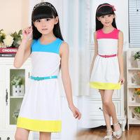 2014 summer new arrival children's clothing girls patchwork sleeveless cotton straight dress 8-14