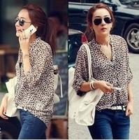 2014 New spring Summer Ultrathin Model Fashion Women Casual Shirt Loose Fit Long Sleeve Leopard Chiffon Blouse Free Shipping
