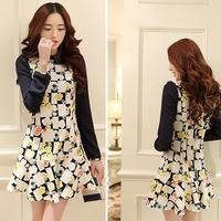 OVO!2014 new fashion cute korean style big yards women dress doll collar slim chiffon long floral dress  F.LYQ324