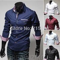 China imported clothes 2014 Men Shit Mens dress shirts camisas hombre Long Sleeve Black Men clothing styles Masculinas social