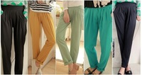 2014 New Summer Arrival Women's slender loose female thin pencil pants long trousers roll-up hem casual pants