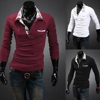 New hot sell 2014 men long sleeve T-shirt boutique high quality men's long sleeve T-shirt Cotton men T-shirt free shipping