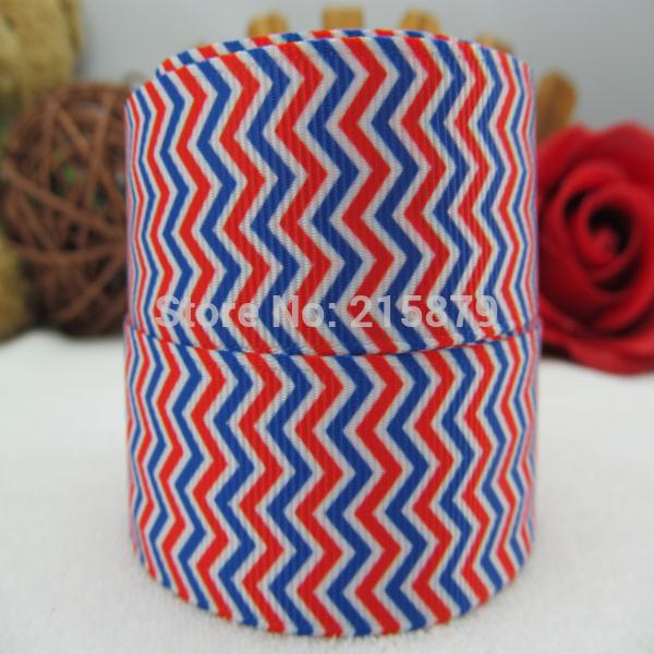 "2014 national day 1"" 25mm wave stripe printed ribbon gift wrapping DIY hairbow making(China (Mainland))"