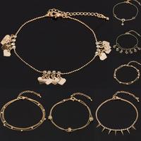 1pc Lady Girl Summer Gold Tone Charm Crystal Rhinestone Ankle Bracelet Anklet