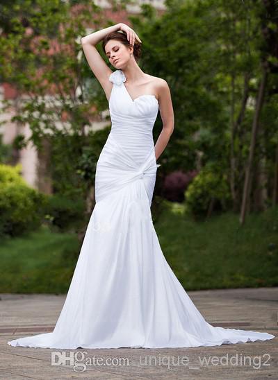 Graceful/Elegant One shoulder Bridal gowns handmade flowers ruched Floor Sweep/Brush Train Wedding dresses(China (Mainland))