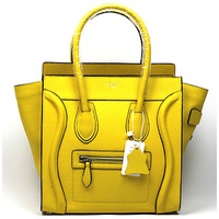 Hot sale!! 3028 Luggage Mini Leighton Meester's Smile Face Boston Tote yellow Original Leather women messenger handbags