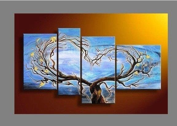 4 peças painel muti abstrata moderna arte da parede da lona galho de árvore azul handmade pintura a óleo sobre tela para viver a decoração do quarto(China (Mainland))