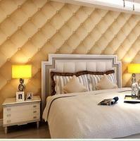 High-grade leather grain dimensional soft pack bed bedroom living room TV backdrop wallpaper Wallpaper 3D video wall