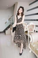 2014 summer dress sexy leopard print elastic waist expansion  vest full dress