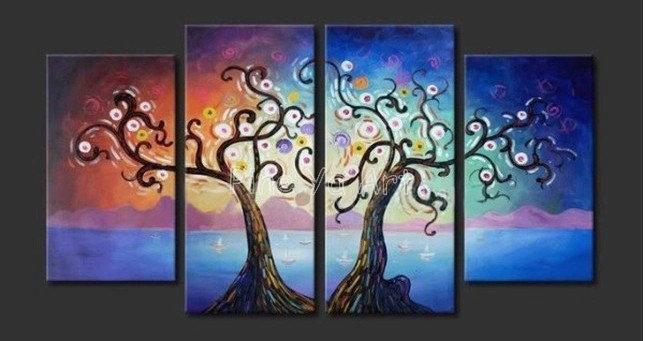 4 pedaço de árvore arte da parede da lona abstrato painel muti moderna do ramo vida handmade da lona pintura a óleo para decoração de sala de estar(China (Mainland))