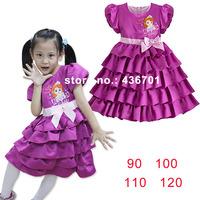 2014 Girls Dress Cheap Princess Party Dress Sophia Waist Bow Girls Toddler 3d Tutu Layered dress puff sleeve 1pcs hot sale