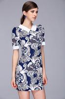 Brand women's small fresh Lapel print dress
