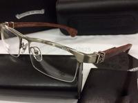 Freeshipping Chrome Titanium glasses  frame titanium eyeglasses wood temple myopia frame plain eyeglasses