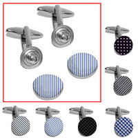 6 Colors Snap Button Fabric Cuff Link Adjustable Cufflink Free Shipping