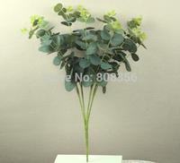 "6Pcs/lot 47cm/18.5"" Length Artificial Silk Flowers Simulation Green Plant Eucalyptus Coins Grass Plastic Flower Home Decoration"