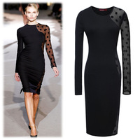 2014 new Womens Lace Dot Celebrity Bodycon Ladies Pencil Evening Slimming Tea Dress Winter Black Dress Girl Dress