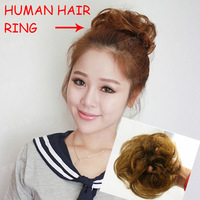 100% Human hair ring curl chignon1 piece free shipping 4colors  high quality