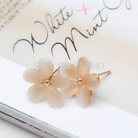 Women Korean Style Sakura Flower Earrings White Resin Opal Flower Ear Studs #5680