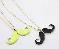 Charming Individual Gold Color Alloy Chain Enamel Black Mustache Beard Pendant Necklace      JH-NK-003