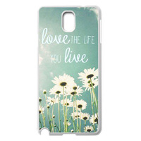Life Quotes love the life you live White Case Protector Cover For Samsung Galaxy Note 3 III + Screen Protrector